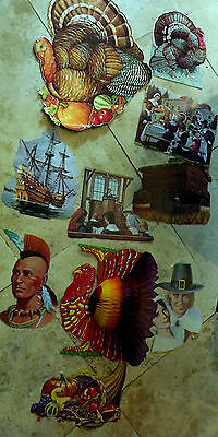 Vintage Thanksgiving Die Cuts Lot of 9 Turkey Honeycomb, Eureka Beistle Large