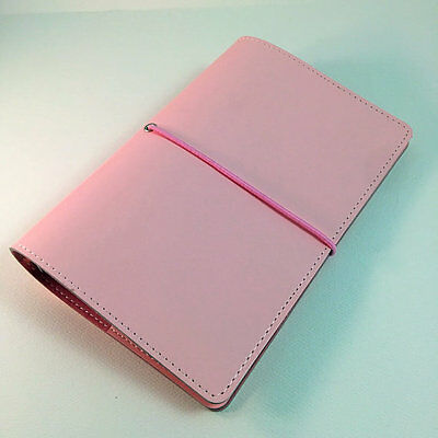 A6 Size 6 Ring Agenda Baby Pink Color Faux Leather Medium Filofax Style