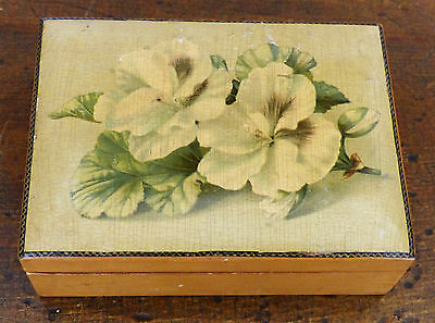 ANTIQUE 19th C Sewing Thread FERNWARE MAUCHLINE WARE Pansy Lithograph WOOD BOX