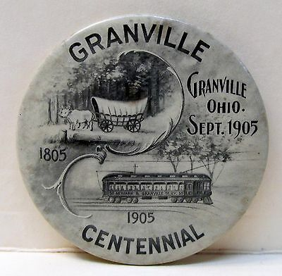 1905 GRANVILLE OHIO CENTENNIAL Conestoga Wagon & Trolley  pocket mirror *