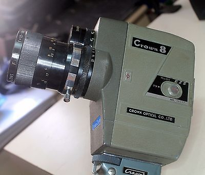 Crown 8 EZ S 8mm movie camera, labeled case