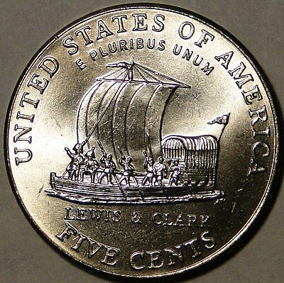 BU United States 2004 D Jefferson nickel Keel Boat Lewis & Clark 5 cent 5c coin