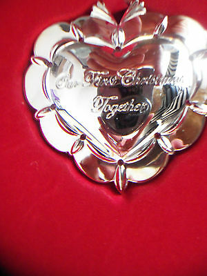 """2012 Waterford """"our 1st Christams Together"""" Silver-Plated Ornament NEW"""