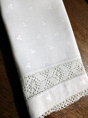 "Antique Linen Damask Shamrock ""Clover"" Filet Crochet Lace Towel 18"" x 26"""