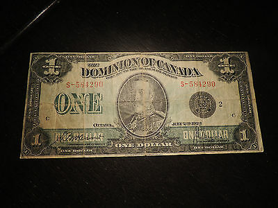 1923 Dominion Of Canada $1 One Dollar S-584290 Bc-25F Black Seal Group 2