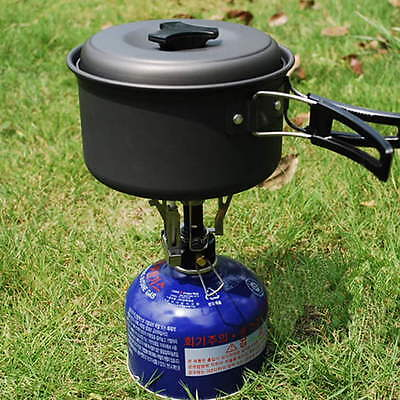 Outdoor Picnic Butane Gas Burner Portable Camping Mini Steel Stove Case DP