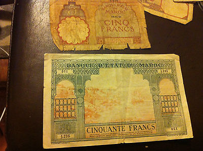 1943 morocco 50 francs rare note foriegn currency +1941 5 francs free