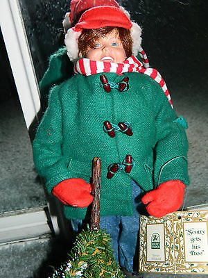 """Rhodes Studios Porcelain Boy Doll Norman Rockwell Scotty Gets His Tree 12"""" 1991"""