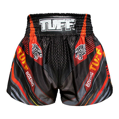 TUFF Muay Thai Boxing Shorts Black With Double Tiger TUF-MS611-BLK