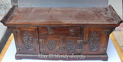 """21"""" Chinese Wood Carved Ancient Flower Storage box Cabinet Table Desk Statue"""