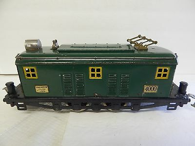 American Flyer  # 4000 Green  Box Cab Engine With Yellow Windows Runs Great
