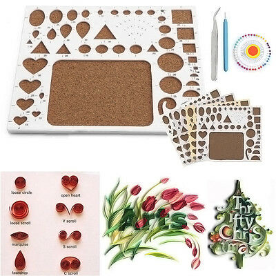 Paper DIY Quilling Tools Template Mould Board + Tweezer +Pins + Slotted Tool set