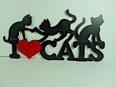 """"""" I Red Heart CATS """"  -  Black Cats / Kittens Metal Sign / Wall Plaque - 14 1/4"""""""