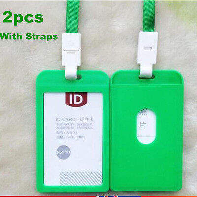 2 x Green Plastic Business ID Badge Card Vertical Holders with Strap Lanyard