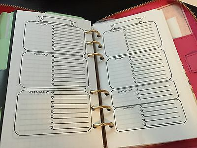 15 pgs Personal Planner Week On 2 Pages Filofax kikki k Agenda Refill Inserts A6