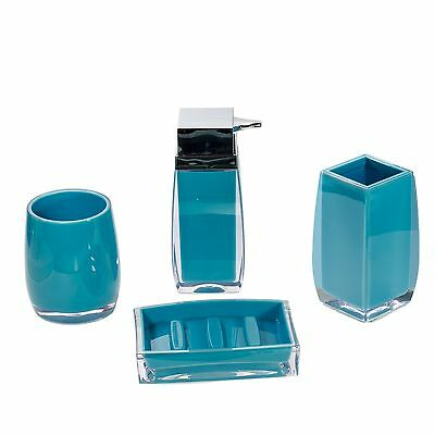4pc Blue Plastic Bathroom Accessory Set -Toothbrush, Dispenser, Tumbler, Tray