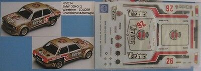 BMW 320 n° 26 WARSTEINER ZOLDER DECAL 1/43e MINI RACING
