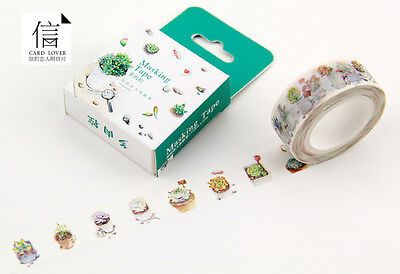 succulent plant potted plant Washi Masking Tape Scrapbooking Label Decal Sticker