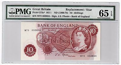 Great Britain 10 Shilling 1966-70 Pick 373c* PMG GEM UNC 65 EPQ Replacement Star
