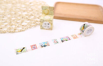 Charactizing spring stamps postmark Washi paper Masking Tape stickers Scrapbook
