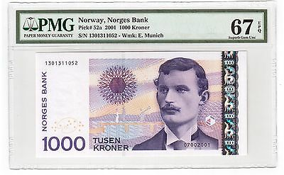Norway 1000 Kroner Banknote 2001 Pick# 52a PMG Superb GEM UNC 67 EPQ