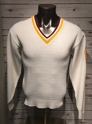 Vintage Broadway Knitting Mills Letterman Varsity Wool Knit V Neck Sweater Sz. M