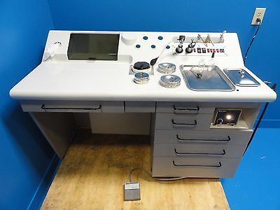 Wooden ENT Treatment Cabinet W/ Welch Allyn Otoscopes Light Source & Trays~11725