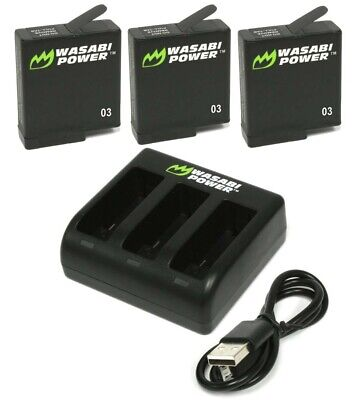 Wasabi Power Battery (3-Pack) & TRIPLE Slot USB Charger for GoPro HERO5 Black