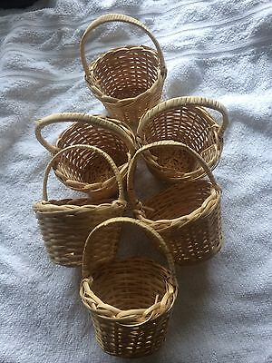6 Wicker Rattan Small Wicker Baskets New