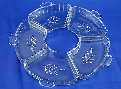 5 x Vintage Embossed Clear Cut Glass Sweets, Dessert Bowls - VGC
