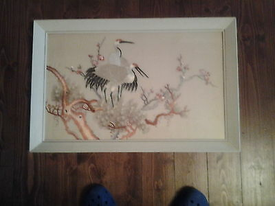 Japanese silk embroidered pictures