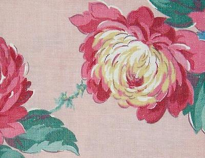 1940s/50s Vintage BarkCloth Era Pink Peony Print Cotton Fabric - Unused!