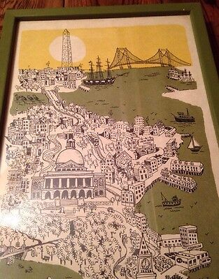 Map Of Boston 1969 Calendar - Framed - Rare - Cool!!!
