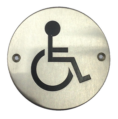 "Disabled Facility symbol - Toilet WC Door Sign Round 3"" St/Steel with fixings"