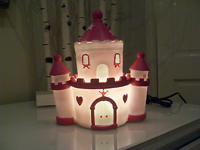 Childrens Girls Princess Led Pink & Purple Castle Night Lamp Light Bedroom New