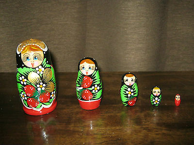 matriosca decorata a mano dalla Russia, matryoshka, 5 pezzi 10 cm
