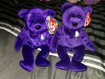 Princess Diana TY beanie baby set - Made in Indonesia & China PE Pellets