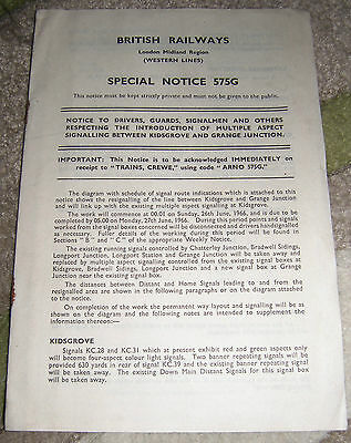British Railways London Midland Region, Special Notice with Track Diagrams, 1966
