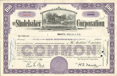 The Studebaker Corporation > vintage auto car stock certificate