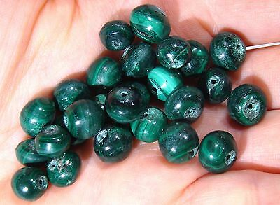 26 NATURAL HAND CARVED VINTAGE REAL MALACHITE BEADS up to 10mm 166ct