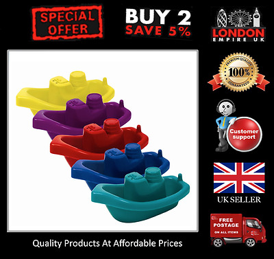 5 Pack Baby Bath Boats Floating Toy Water Vibrant Colours Child Toddler Kids Fun
