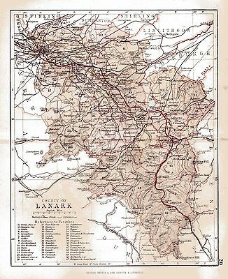 Map of the County of Lanark, Scotland dated 1884.