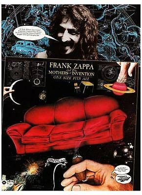 Frank Zappa POSTER One Size Fits All **LARGE** Promo Ad GREAT ARTWORK
