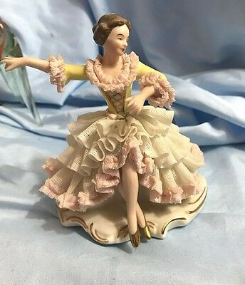 Vtg Wilhelm Rittirsch Dresden Ballerina Dancer Figurine, Dresden Lace-Marked