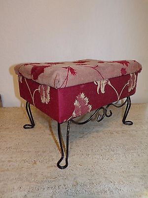 Vtg Iron Hairpin Legs Footstool Ottoman W Storage Compartment  N5-1958