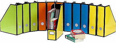 Pack of 12 Magazine File Holder Organizer Box Storage Office Work Home Desktop