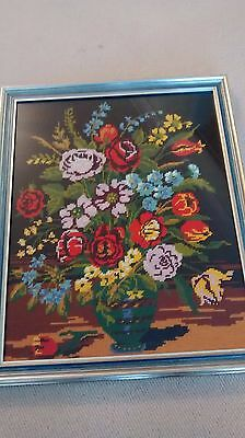 Hand Crafted Framed Tapestry, Floral, Stunning Colours, Beautifully Made