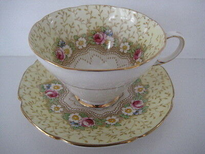 Vintage Paragon Pretty China Cabinet Tea Cup Saucer Floral Damask Rose Yellow