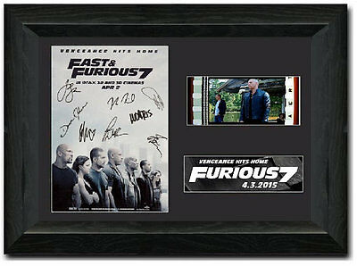 Fast & Furious 7 35 mm Framed Film Cell Display Muti Comic Con Fan Art Signed