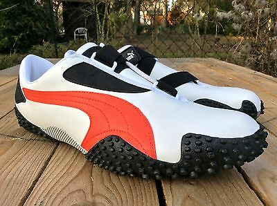 PUMA MOSTRO Leather white red 44 US 10,5 UK 9,5 NEU Speed Cat SPARCO NEW Skater